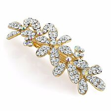 Crystal Flowers Design Barrette Hair Clip Slide Grip Pin Jewel - Accessories
