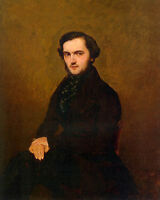 """Dream-art Oil painting Corot - Portrait of a Gentleman on chair hand painted 36"""""""