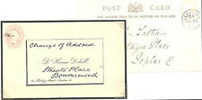 1/2D PINK POST CARD LONDON PRINTED & MANUSCRIPT CHANGE OF ADDRESS ON THE REVERSE
