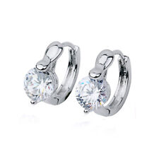 Luxury Platinum Plated with White Zircons Small Hoops Earrings E576