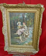 Antique Oil Painting On Canvas - Man Carrying Woman w/ Sheep - Costa 1894