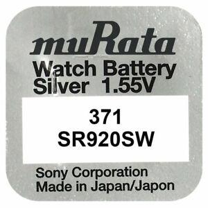 1x Murata 371 ehemals Sony Knopfzelle Uhren-Batterie 371 / SR 920 SW V371 AG6