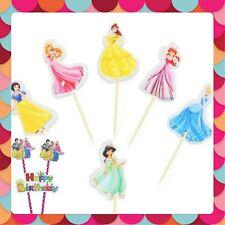 Disney Princess large Cake + Cupcake Toppers picks happy Birthday Decoration