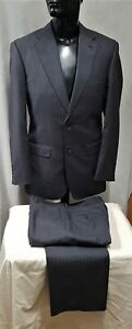 Size 92 R / 84 STUDIO ITALIA mens 2 button wool pinstripe suit grey business