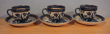 3 DOUBLE PHOENIX BLUE WILLOW DEMI TASSE CUPS & SAUCERS JAPAN