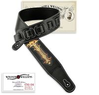 Walker & Williams CVG-24 Black & Gold Padded Guitar Strap Hand Tooled Skull