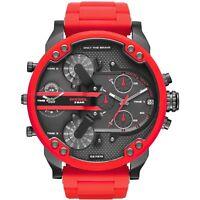 NEW DIESEL Mr Daddy 2.0 Gunmetal Dial Red Silicone Strap Men's Watch DZ7370