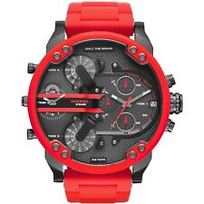 NEW DIESEL Mr Daddy 2.0 Gunmetal Dial Red Silicone Strap Men's Watch DZ7370