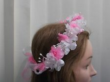 Hot Pink/White Pearl  Flower Circlet - Wedding Halo, Flower Girl - by Valerie J