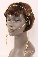 Women Gold Head Metal Chain Fashion Jewelry Face Long Side Tassle Leaves Strand