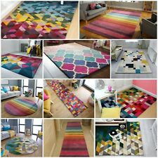 MODERN ILLUSION 100% WOOL PILE HANDTUFTED SOFT BRIGHT COLOURFUL RUG THICK CARPET