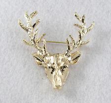 Women Men Christmas Gold Tone Milu Head Horn Hunting Collar Brooch Pin Jewelry