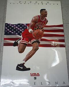 Vintage 1992 USA Olympic Scottie Pippen Barcelona Nike Basketball NBA Poster