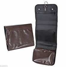 KINGSLEY  Unisex PLEATHER Hang-able Ditty DOPP Toiletry Travel Case/Bag Brown