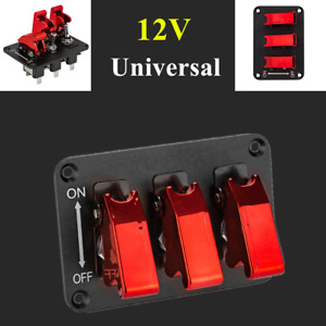 12V 3-Digit Switch Panel Racing Car Red Electroplate Refit Rocker Turn On/Off