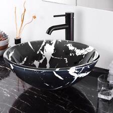 Bathroom Tempered Glass Vessel Sink Round Marbling Pattern Vanity Bowl Basin