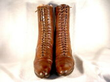 """Vintage Edwardian Period Lt. Brown Leather Lace Up Boots """"Large Size!'"""