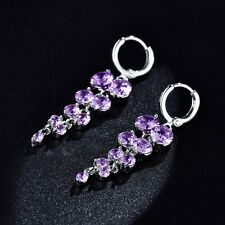 Wholesale Purple Swarovski Crystal White Gold Filled Chandelier Dangle Earrings