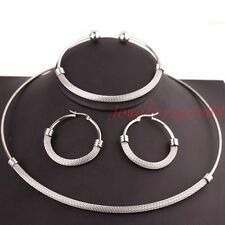 Womens Silver/Gold Color Stainless Steel Necklace Choker Bracelet Jewelry Set XM