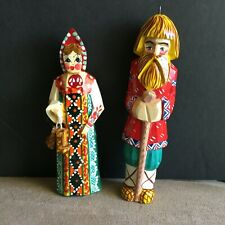 Lot of 2 Russian Lacquer Wooden Hand Carved Man and Woman Christmas Ornaments