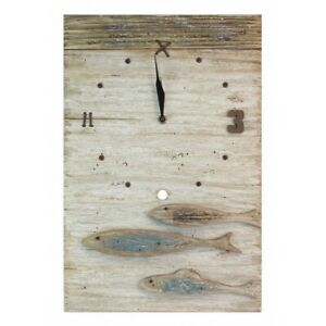 RUSTIC WOODEN FISH CLOCK