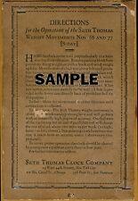 2, EXACT COPYS OF SETH THOMAS NO. 2 , MODEL 77 MOVEMENT & MODEL 68 LABELS