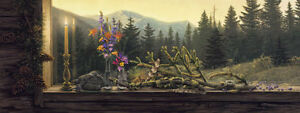 Stephen Lyman MORNING LIGHT 14x37 S/N Paper Art Print Cabin Lodge Outdoors