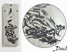Chinese Dragon Engraved Wood - Wall Clock