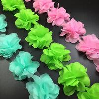 5Yard DIY Flower Chiffon Leaves Trim Wedding Dress Bridal Lace Fabric Craft