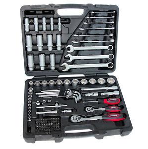 Zoll Werkzeug Satz Harley Steckschlüssel Nüsse Nuss Set Ratschenkasten 92 tlg.