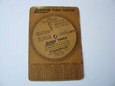 Vtg 1935 Lufkin Time Saver Converter Calculator Wheel Screws Threads Drill Sizes