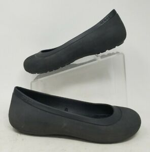Crocs Mammoth Ballet Flats Slip On Faux Fur Lined Black Womens 11