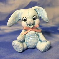 """2"""" Vintage Hand Painted Ceramic Blue Fabric Sitting Easter Bunny Figurine NEW"""