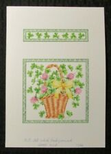 "ST PATRICKS DAY Basket w/ Flowers Ribbon & Clover 7x10"" Greeting Card Art #7886"