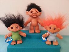 Early Norfin Troll Dolls Thomas Dam Dated 1967, 1977 Lot of Three Exc. Condition