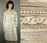 Vintage 70s Dress Sz M Shiny Silver Gold Rhinestone Cocktail Gown Disco Costume