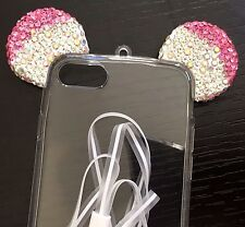 iPhone 7 / 8 - HARD TPU RUBBER GEL CASE COVER CLEAR PINK MOUSE EAR DIAMOND BLING