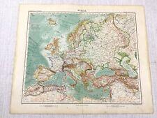1907 Antique Map of Europe Old European Countries Gotha Justus Perthes
