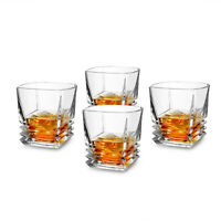 Bourbon Glass Set of 4 Pacific Style Drinking Tumbler Cups 9Oz for Whisky Scotch
