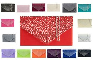 Womens Diamond Clutch Evening Crossbody Bag Wedding Party Prom Purse chainhandle