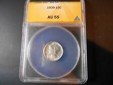 1939 Mercury Dime ANACS AU55  #6028027