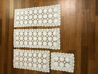 PRICE REDUCED! 4 Matched Crocheted & Linen Table Runner Dresser Scarf Doily VTG