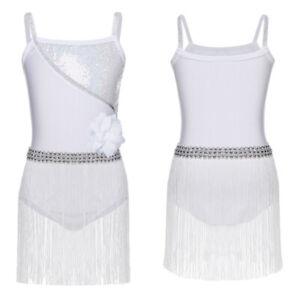 Girls Shoulder Straps Dance Dress Sequined Latin Rumba Salsa Tango Tassels Skirt