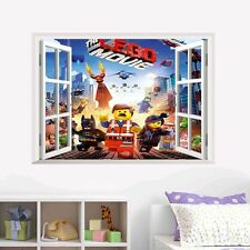 Removable 3D The Lego Movie View Window PVC Wall Sticker Kids Room Decal