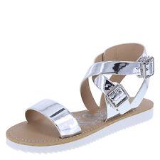 Women's Brash Whatevs Flat Sandal Sandals Silver Mirror Polish Size 6.5 (eur 38)