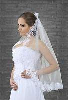 """1 Tier White or Ivory Wedding Lace Edge Bridal Elbow Veil With Comb 32"""""""