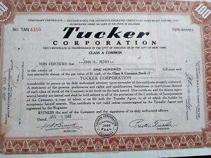 Tucker Corporation Stock Certificate Car Auto