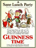 Guinness Time A Sane Lunch Ireland Great Britain Vintage Travel Art Poster