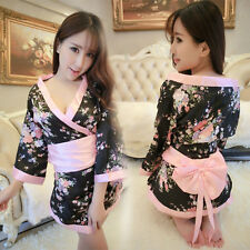 Sexy Lingerie Set Women Sakura Uniforms Cosplay Japanese Kimono Babydolls Black