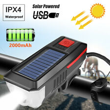 Solar Powered USB Rechargeable LED Bicycle Headlight Bike Head Light + Horn Bell